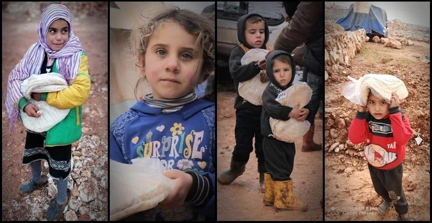 """""""Bir lokma mutluluk"""" Suriye'de kamplarda yaşam mücadelesi veren mazlumlar için günlük ekmek dağıtımlarımız devam ediyor"""